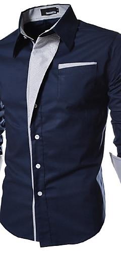 abordables -Homme Grandes Tailles Couleur Pleine Basique Mince Chemise Quotidien Col Italien Blanche / Noir / Bleu marine / Printemps / Automne / Manches Longues