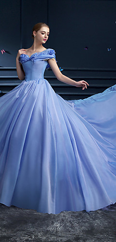 cheap -Ball Gown Elegant Floral Quinceanera Prom Dress Off Shoulder Short Sleeve Cathedral Train Organza with Pick Up Skirt 2020