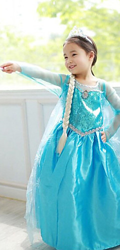 economico -Da principessa Fiabe Elsa Vestiti Costumi Cosplay Vestito da Serata Elegante Per bambini Da ragazza Natale Halloween Giornata universale dell'infanzia Feste / vacanze Chiffon Terylene Costumi
