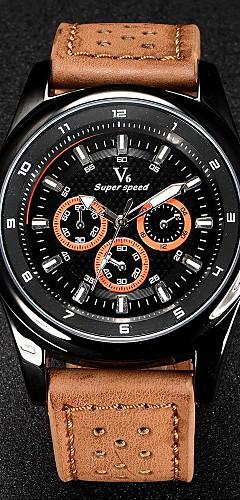 ราคาถูก -V6 สำหรับผู้ชาย นาฬิกาข้อมือ สายการบิน นาฬิกาอิเล็กทรอนิกส์ (Quartz) นาฬิกาควอตซ์ญี่ปุ่น หนัง ดำ / น้ำตาล / กากี นาฬิกาใส่ลำลอง ระบบอนาล็อก เสน่ห์ - สีดำ สีน้ำตาล สีกากี สองปี อายุการใช้งานแบตเตอรี่