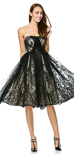 cheap -A-Line Fit & Flare Little Black Dress Holiday Cocktail Party Prom Dress Strapless Sleeveless Knee Length Tulle with Lace 2020