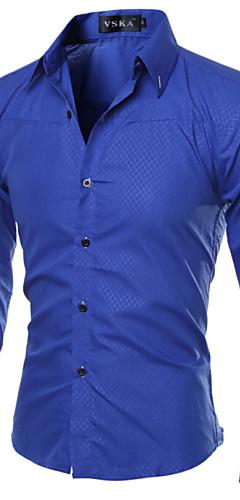 abordables -Homme Grandes Tailles Chemise Couleur Pleine Basique Manches Longues Mince Hauts Business Col Italien Vin Blanche Noir / Printemps / Automne / Travail