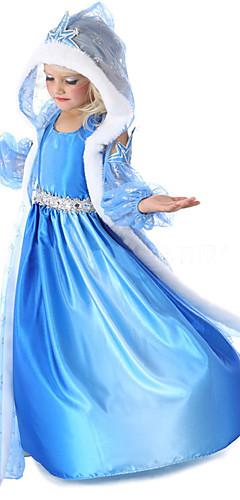 baratos -Princesa Conto de Fadas Elsa Fantasias de Cosplay Para Meninas Cosplay de Filmes Detalhes em Pêlo Azul Casaco Vestido Luvas Dia Das Bruxas Ano Novo Chifon