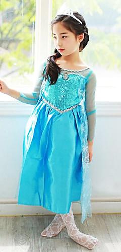 economico -Da principessa Fiabe Elsa Vestiti Costumi Cosplay Da ragazza Cosplay da film Azzurro / Verde / Blu Abito Halloween Capodanno Chiffon