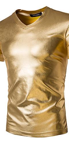 abordables -Homme Tee-shirt Couleur Pleine Manches Courtes Mince Hauts Basique Exagéré Col en V Noir Dorée Argent / Sports / Eté