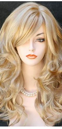 billige -Syntetiske parykker Krop Bølge Bølget Med lugg Parykk Blond Lang Svart Svart / Rød Blond Syntetisk hår 24 tommers Dame Side del Blond