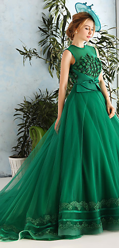 cheap -Ball Gown Formal Evening Dress Jewel Neck Chapel Train Lace Satin Tulle with Lace Bow(s) Pearls 2020