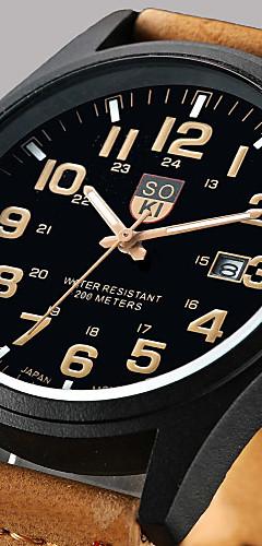 ราคาถูก -สำหรับผู้ชาย นาฬิกาข้อมือ นาฬิกาล่าสัตว์ นาฬิกาอิเล็กทรอนิกส์ (Quartz) หนัง น้ำตาล / เขียว / กากี ปฏิทิน วันที่ ระบบอนาล็อก คลาสสิก ไม่เป็นทางการ แฟชั่น Aristo - สีเขียว สีดำ / สีขาว แบล็ค / หนึ่งปี