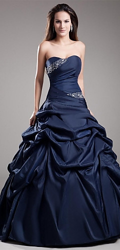 cheap -Ball Gown Elegant Quinceanera Prom Dress Strapless Sleeveless Floor Length Taffeta with Crystals Tier 2020