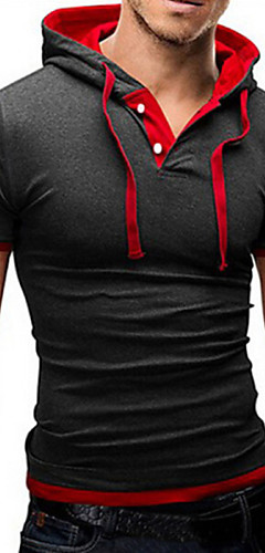 abordables -Homme Tee-shirt Manches Courtes Hauts Basique Capuche Bleu de Prusse Noir / Rouge Noir / Blanc / Sports / Eté / Slim