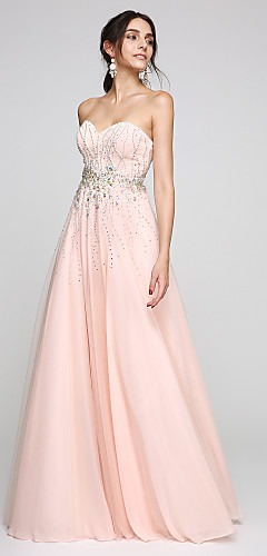 cheap -A-Line Elegant Sparkle & Shine Beaded & Sequin Prom Formal Evening Dress Sweetheart Neckline Sleeveless Floor Length Tulle with Crystals Beading 2020