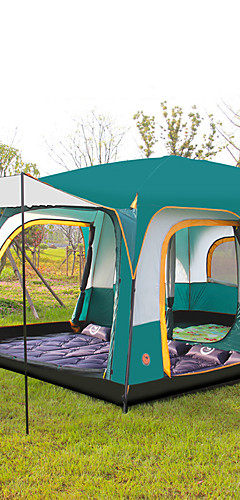 رخيصةأون -Shamocamel® 8 أشخاص خيمة كبيرة خيمة التخييم العائلية في الهواء الطلق مقاوم للماء جيدة التهوية التنفس إمكانية طبقات مزدوجة قطب الماسورة خيمة كبيرة خيمة التخييم غرفتين >3000 mm إلى التخييم والتنزه