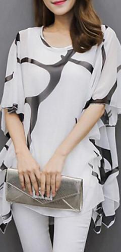 billige -Flaggermusermer Løstsittende Store størrelser Bluse Dame - Grafisk, Flettet / Trykt mønster Grunnleggende Svart og hvit Hvit / Sommer / flare Sleeve