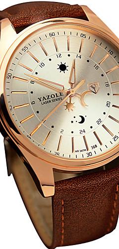 ราคาถูก -YAZOLE สำหรับผู้ชาย นาฬิกาข้อมือ นาฬิกาอิเล็กทรอนิกส์ (Quartz) หนัง ดำ / น้ำตาล ลดกระหน่ำ เท่ห์ / ระบบอนาล็อก ไม่เป็นทางการ - สีดำ สีน้ำตาล หนึ่งปี อายุการใช้งานแบตเตอรี่ / SSUO 377