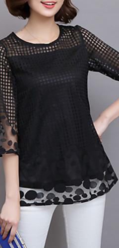 billige -Store størrelser Bluse Dame - Ensfarget, Netting Bohem Dusty Rose Navyblå / Sommer / Blonder