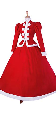 economico -Da principessa Costumi da Babbo Natale Costumi Cosplay Per donna Natale Halloween Carnevale Feste / vacanze Pizzo Biancheria Rosso Costumi carnevale Tinta unita / Raso