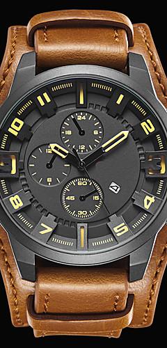 ราคาถูก -สำหรับผู้ชาย นาฬิกาแนวสปอร์ต นาฬิกาแฟชั่น นาฬิกาตกแต่งข้อมือ นาฬิกาอิเล็กทรอนิกส์ (Quartz) นาฬิกาควอตซ์ญี่ปุ่น หนังแท้ ดำ / น้ำตาล 30 m กันน้ำ ปฏิทิน เท่ห์ ระบบอนาล็อก / # / # / สองปี / สองปี