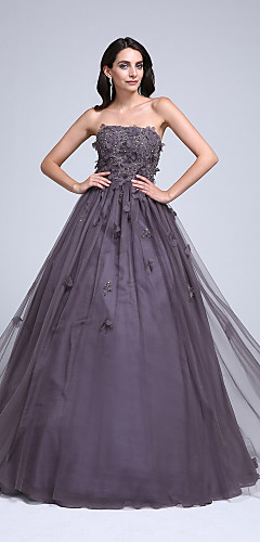 cheap -Ball Gown Floral Quinceanera Formal Evening Dress Strapless Sleeveless Floor Length Tulle with Beading Appliques 2020