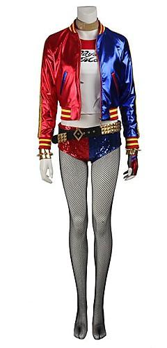 baratos -Esquadrão do suicídio Super-Heróis Fantasias Harley Quinn Fantasias de Cosplay Meias e Meias-Calças Artigos de Halloween Homens Mulheres Cosplay de Filmes Vermelho Casaco Blusa Calças Natal Dia Das