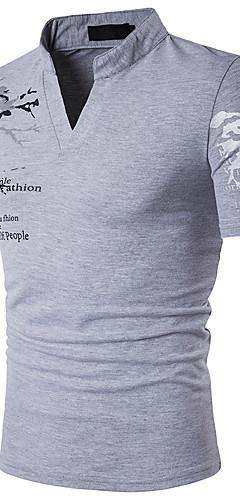 abordables -Homme Polo Graphique Imprimé Manches Courtes Mince Hauts Coton Actif Mao Blanche Noir Rouge / Eté