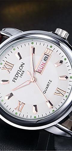 ราคาถูก -สำหรับผู้ชาย นาฬิกาแฟชั่น นาฬิกาอิเล็กทรอนิกส์ (Quartz) รูปแบบชุดเป็นทางการ รูปแบบคลาสสิก หนัง น้ำตาล 30 m / ระบบอนาล็อก ไม่เป็นทางการ - ขาว สีดำ ฟ้า
