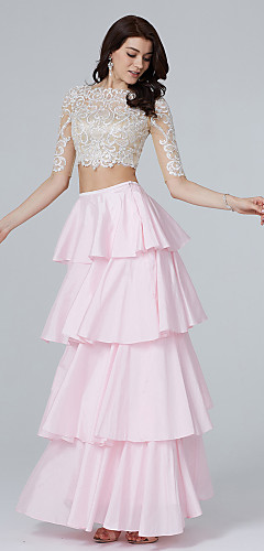 cheap -Two Piece A-Line Two Piece See Through Pastel Colors Holiday Cocktail Party Prom Dress Illusion Neck Half Sleeve Floor Length Lace Taffeta with Sequin Tassel Appliques 2020 / Illusion Sleeve