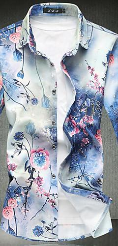 abordables -Homme Chemise Fleurie Imprimé Manches Longues Mince Hauts Rétro Vintage Col Classique Bleu Rouge Vert / Printemps / Automne