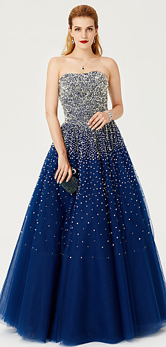 cheap -Ball Gown Formal Evening Dress Strapless Floor Length Satin Tulle Stretch Satin with Sequin 2020