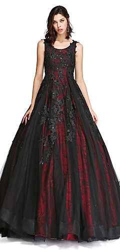 cheap -Ball Gown Vintage Inspired Formal Evening Dress Scoop Neck Sleeveless Cathedral Train Lace Tulle with Lace Pearls Beading 2020