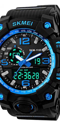 Недорогие -SKMEI Муж. Спортивные часы / Модные часы / Армейские часы Японский Будильник / Календарь / Секундомер PU Группа Черный / Защита от влаги / LED / С двумя часовыми поясами / Хронометр