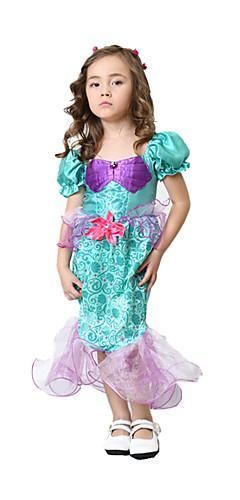 ราคาถูก -เจ้าหญิง Cinderella หางนางเงือก หนึ่งชิ้น ชุดเดรส สำหรับเด็ก เด็กผู้หญิง วันฮาโลวีน เทศกาลคานาวาล Festival / Holiday Elastane Tactel สายรุ้ง ชุดเทศกาลคานาวาว Vintage / เครื่องแต่งกายในเทพนิยาย