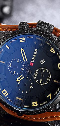 ราคาถูก -สำหรับผู้ชาย นาฬิกาแนวสปอร์ต นาฬิกาข้อมือ นาฬิกาอิเล็กทรอนิกส์ (Quartz) หนังแท้ ดำ / น้ำตาล กันน้ำ ปฏิทิน Creative ระบบอนาล็อก ไม่เป็นทางการ แฟชั่น สง่างาม นาฬิกา Creative ที่เป็นเอกลักษณ์ -  / สองปี