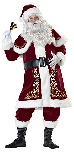 رخيصةأون -بدل سانتا بابا نويل كوستيوم ملابس للبالغين رجالي كريسماس عيد الميلاد السنة الجديدة حفلة تنكرية عطلة / عيد تيريليني Elastane أحمر كرنفال ازياء عتيقة