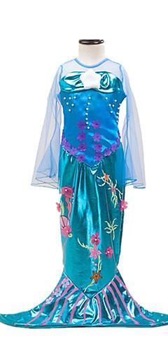 ราคาถูก -หางนางเงือก Aqua Princess หนึ่งชิ้น ชุดเดรส สำหรับเด็ก เด็กผู้หญิง วันคริสต์มาส วันฮาโลวีน เทศกาลคานาวาล Festival / Holiday Elastane Tactel น้ำเงินโอเชี่ยน ชุดเทศกาลคานาวาว Vintage