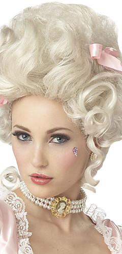 billige -Syntetiske parykker / Kostymeparykker Krøllet Kardashian Stil Lokkløs Parykk Hvit Hvit Syntetisk hår Marie Antoinette Dame Hvit Parykk Medium Lengde StrongBeauty