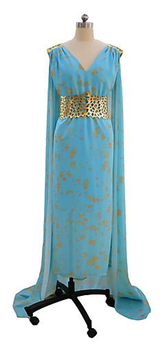 economico -Game of Thrones Queen Daenerys Targaryen Costumi Cosplay Vestito da Serata Elegante Per donna Cosplay da film Blu Abito Halloween Carnevale Elastene Tactel