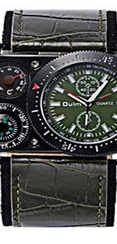 ราคาถูก -สำหรับผู้ชาย นาฬิกาใส่ลำลอง นาฬิกาแฟชั่น นาฬิกาข้อมือ นาฬิกาอิเล็กทรอนิกส์ (Quartz) หนัง ระบบอนาล็อก สีดำ กาแฟ สีเขียว