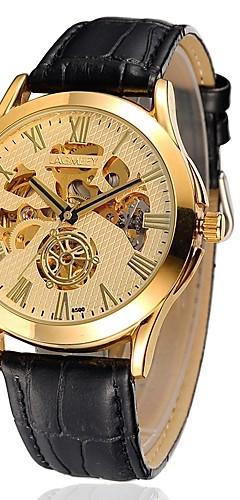 ราคาถูก -สำหรับผู้ชาย นาฬิกาใส่ลำลอง / นาฬิกาแฟชั่น ไขลานอัตโนมัติ หนัง วงดนตรี