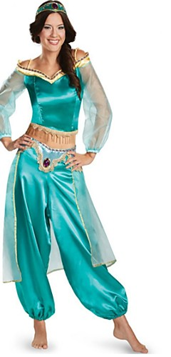 baratos -Princess Jasmine Fantasias de Cosplay Baile de Máscara Mulheres Natal Dia Das Bruxas Carnaval Festival / Celebração Poliéster / Algodão Azul Mulheres Trajes de Carnaval Côr Sólida Moderno / Blusa