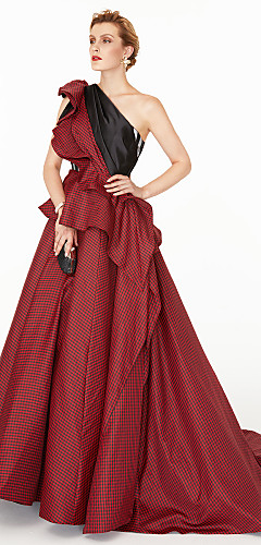 cheap -Ball Gown Celebrity Style Holiday Cocktail Party Formal Evening Dress One Shoulder Sleeveless Court Train Satin Taffeta with Pleats Side Draping Color Block 2020