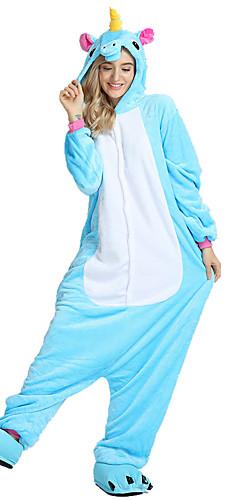 رخيصةأون -للأطفال للبالغين بيجاما كيجورومي Unicorn حصان طائر مهر بيجاما ونزي ثعلب الماء المخملية أبيض / أسود / أرجواني تأثيري إلى للصبيان للفتيات الرجال والنساء ملابس للنوم الحيوانات رسوم متحركة عطلة / عيد