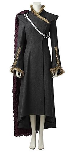 hesapli -Game of Thrones Ejderha Anne Kraliçe Daenerys Targaryen Kostüm Kadın's Film Kostümleri Gri & Siyah Elbise Pelerin Daha Fazla Aksesuarlar Cadılar Bayramı Karnaval Kasım Festivali