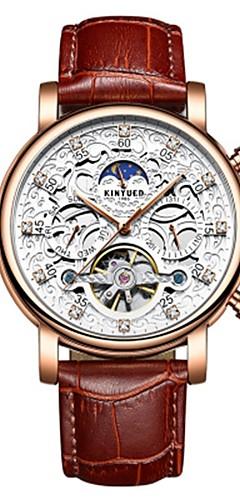 ราคาถูก -สำหรับผู้ชาย นาฬิกาข้อมือ Swiss ไขลานอัตโนมัติ 30 m กันน้ำ ปฏิทิน แกะสลักกลวง หนังแท้ วงดนตรี ระบบอนาล็อก ความหรูหรา แฟชั่น สง่างาม น้ำตาล - สีทอง ขาว สองปี อายุการใช้งานแบตเตอรี่ / สแตนเลส