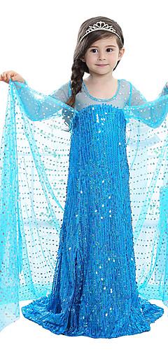 baratos -Princesa Conto de Fadas Elsa Vestidos Crianças Para Meninas Vestidos Aniversário Natal Dia Das Bruxas Baile de Máscaras Festival / Celebração Elastano Azul / Rosa claro Trajes de Carnaval Lantejoula