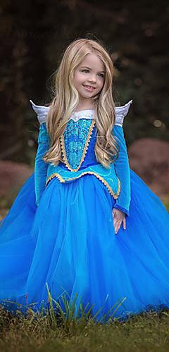 baratos -Aurora Vestidos Crianças Para Meninas Natal Dia Das Bruxas Baile de Máscaras Festival / Celebração Poliéster Azul / Rosa claro Trajes de Carnaval Estampa Colorida