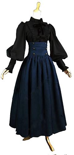 povoljno -Outfits Viktoriánus Vintage inspirirano Haljine Bluza / Shirt Žene Djevojčice Pamuk Kostim Blue / crna Vintage Cosplay Dugih rukava Do gležnja Veći konfekcijski brojevi Prilagođeno