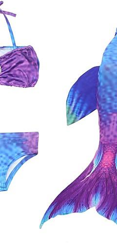 economico -La sirenetta Coda da Sirena Aqua Princess Gonna Costumi da bagno Bikini Per bambini Da ragazza A sirena Bikini Con lustrini Natale Halloween Mascherata Feste / vacanze Chinlon Viola Costumi carnevale
