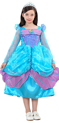 ราคาถูก -เจ้าหญิง Cinderella เครื่องแต่งกายในเทพนิยาย หนึ่งชิ้น ชุดเดรส สำหรับเด็ก วันฮาโลวีน วันฮาโลวีน Festival / Holiday Polyster Cyan ชุดเทศกาลคานาวาว เงือก