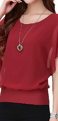 billige -Store størrelser T-skjorte Dame - Ensfarget, Drapering Lilla / Sommer