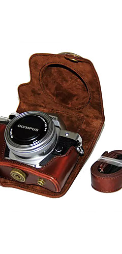preiswerte -dengpin® PU-Leder-Kamera-Kastenbeutelabdeckung für Olympus E-m10 mark ii EM10 mark2 (14-42mm ez Linse (verschiedene Farben)